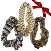 3pc Neutral Striped Chevron Infinity Scarves Tribal Wraps Headband Shawl... - $9.49