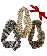 3pc Neutral Striped Chevron Infinity Scarves Tribal Wraps Headband Shawl... - €8,71 EUR