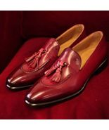 New Handmade Pure Leather Stylish Loafer Tassel burgundy color Shoes For... - $144.99+