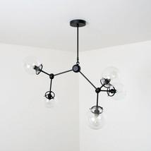 Mid century style modern black brass Light Fixture - 5 Glass Globe Chand... - £437.84 GBP