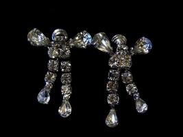 Vintage Karu Signed Diamond Tone Prong Screw On Earrings Costume Fashion... - $14.66
