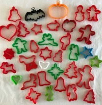 35 Cookie Biscuit Cutters Plastic Christmas Halloween Variety Baking & C... - $14.50