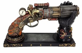 6 Barrel Steampunk Display Pistol Prop Gun Gauntlet Glove Stand Statue F... - $99.68
