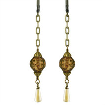 Queen Mab No Monet Earrings Gold Brown Diamond Shape Glass Drop Hand Crafted USA - $34.99