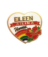 Vintage Rainbow Heart Personalized Pin Eileen Ailina Hawaii Souvenir  - $9.00