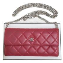CHANEL Matelasse Lambskin Leather Long Flap Clutch WOC Crossbody Bag - $685.00
