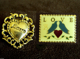Scatter Pin LOT Love Bird Stamp Jonathan Grey Postal USPS & CAMCO Heart 1982 VTG - $19.77