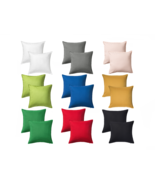 "Full Solid Color Soft Natural Cotton Pillow Case 20"" x 20"" Cushion Covers w/ Zip - $19.59"