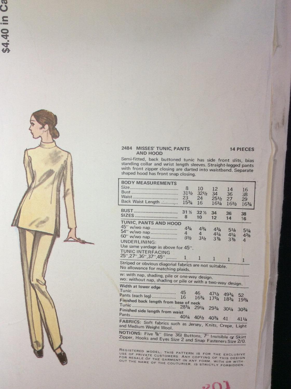 Vtg Vogue Paris Sewing Pattern 2484 Givenchy Size 10 Misses Tunic Pants Hood image 3