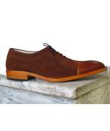 Handmade Men Brown Cap toe Shoes Dress Shoes Leather Suede Formal Men's ... - $169.97+