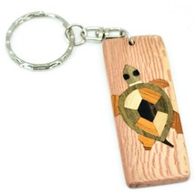Northwoods Wooden Parquetry Rustic Sea Turtle Design Tile Keychain