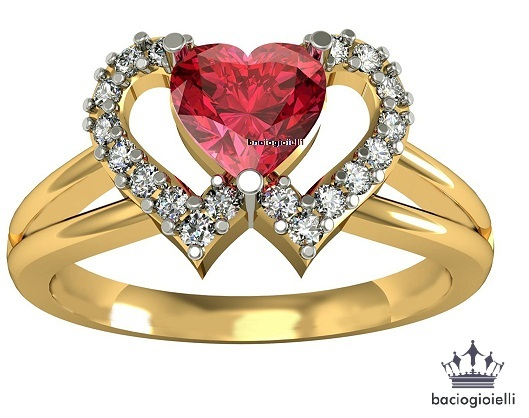 Heart Shape Red Garnet Yellow Gold Plated 925 Silver Double Heart Wedding Ring for sale  USA