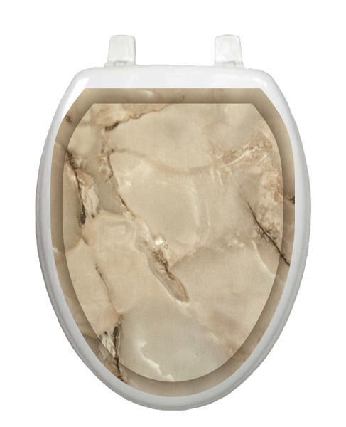 Toilet Tattoos Taupe Marble Removable  Lid Cover  Decor  Reusable Vinyl 1079