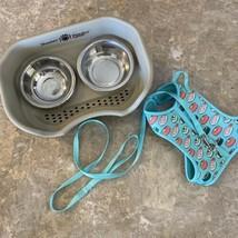 cat / small dog feeding dish and harness leash - $14.50