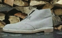 MENS CLARKS BUSHACRE 2 DESERT BOOTS SZ 10.5 45 M USED 26109044 GREY SYNTH - $27.23