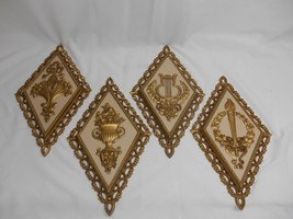 Old Vtg 1971 HOMCO WALL PLAQUES MID-CENTURY RETRO DECOR WALL HANGING Set 4 - $49.49