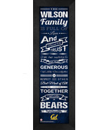 "Personalized Cal Berkeley Bears ""Family Cheer"" 24 x 8 Framed Print - $39.95"