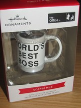Hallmark Das Büro World's Best Boss Kaffee Tasse Weihnachtsbaum Ornament Neu - $15.71