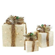 Set of 3 Sparkling Champagne Sisal Gift Boxes Lighted Christmas Yard Art... - $77.95