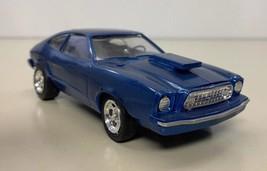 1975 Mustang II Fastback V-8 Model Car Kit Blue 1/24 Built Clean No Damage - $39.59