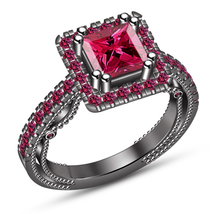 Princess Cut Pink Sapphire 14k Black Gold Plated Sterling Silver Engagem... - $86.99