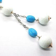 SILVER 925 NECKLACE, SPHERES AGATE WHITE FACETED, TURQUOISE OVAL, PENDANT image 4