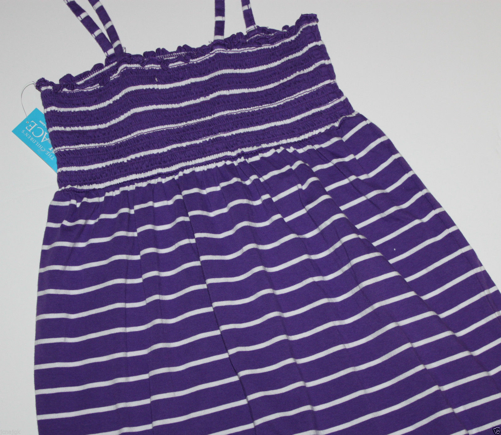 Children's Place New Girl's 10 Purple Striped Cami Strap Dress Swimsuit Coverup - $21.49