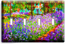 Irises Garden Claude Monet Painting 4 Gang Lightswitch Wall Plate Room Art Decor - $17.99