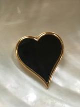 Vintage SARAH Cov Signed Goldtone Black Enamel Heart Pin Brooch – marked... - $9.49