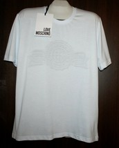 Love Moschino White Embossed Logo Cotton Men's T-Shirt  Size 2XL NEW - $98.73