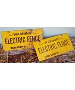 Signage. Pair Vintage Warning Electric Fence Metal Signs.  Red Snap'r. - $20.00