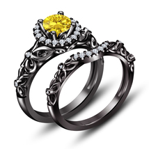 925 Sterling Silver Black Gold Plated Round Cut Yellow Sapphire Bridal Ring Set - $115.35