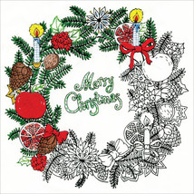 "Design Works/Zenbroidery Stamped Embroidery 10""X10""-Christmas Wreath - $8.73"