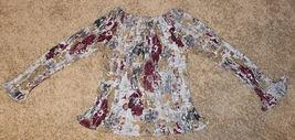 Dress-U Long Sleeve Multicolor Flower Off-shoulder Crinkled Pleated Top Blouse L image 5