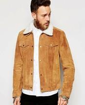 Men's Brown Suede Leather Jacket Slim fit Biker Motorcycle Jacket Fur Co... - $109.99