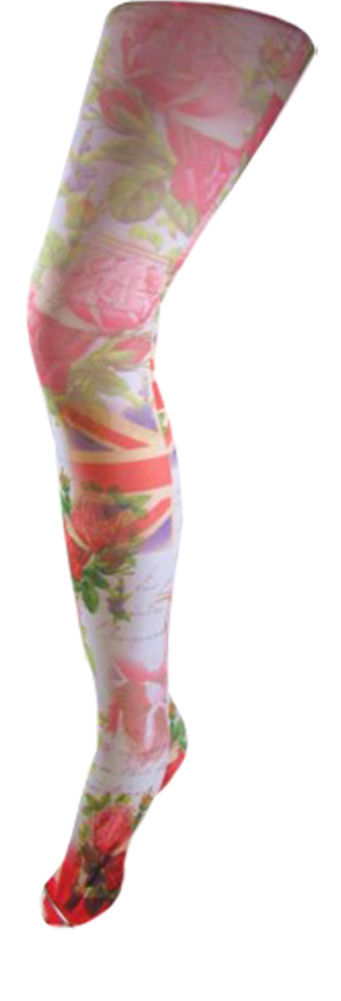 1 Pair Flirt English Rose printed Opaque Tights one size