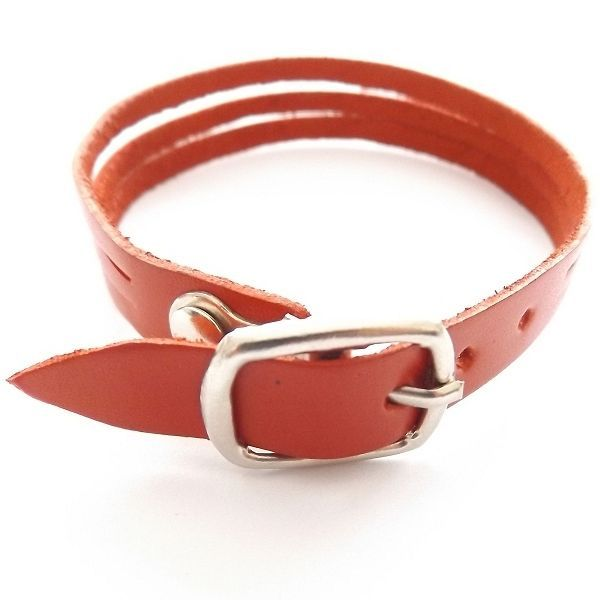 RED QUALITY THREE STRAP BANDED SOFT LEATHER BRACELET CUFF WITH BUCKLE FASTENER image 2