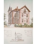 ARCHITECTURE Color Print - VICTORIAN French Brick Villa by Architect Andre - $44.96