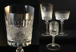 Elegant Glass BUTTON Band Russian Pattern Water Wine Champagne Goblet 1 ... - $22.00