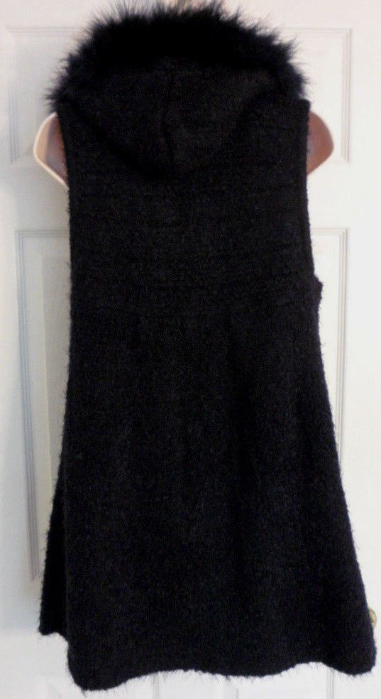 DOLCE CABO WOOL BLEND HOODIE VEST TRIMMED IN TURKEY FEATHERS BLACK SIZE SMALL