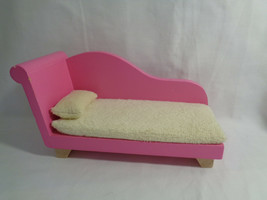 Toys R Us Geoffrey Inc Solid Wood Chaise Couch Doll Furniture Pink - chi... - $4.70
