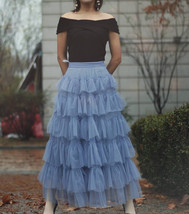 Dusty Blue Layered Tulle Skirt Dusty Blue Wedding Tulle Skirt Outfit Plus Size image 4
