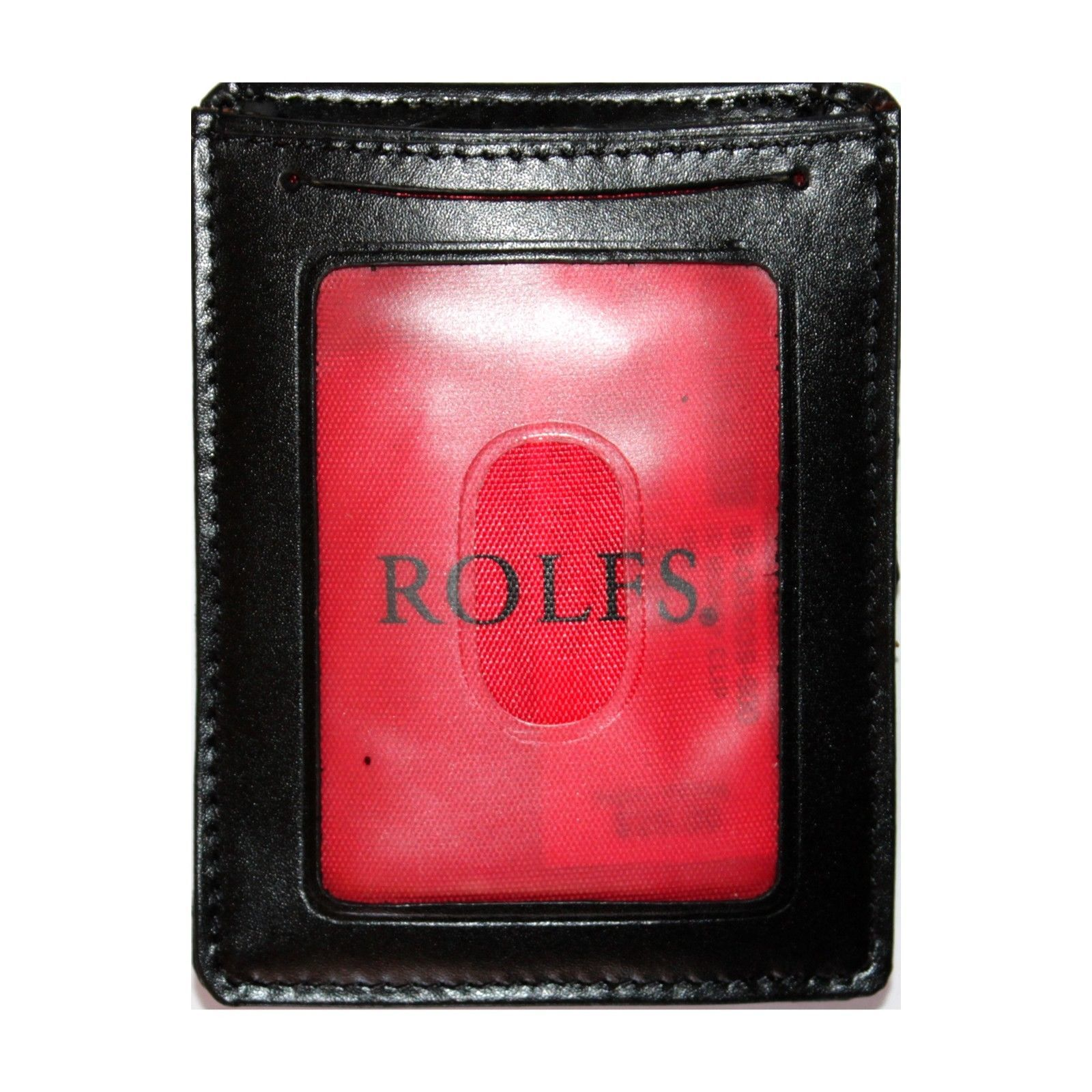"""ROLFS* 3"""" x 4"""" ID HOLDER+MONEY CLIP Black+Red GENUINE LEATHER Metal Clasp WALLET"""
