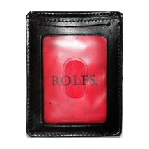 "ROLFS* 3"" x 4"" ID HOLDER+MONEY CLIP Black+Red GENUINE LEATHER Metal Clas... - $36.99"
