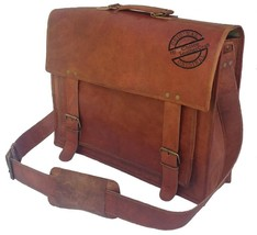 Vintage Brown Leather Messenger Bag Shoulder Laptop computer Business Ba... - $117.72
