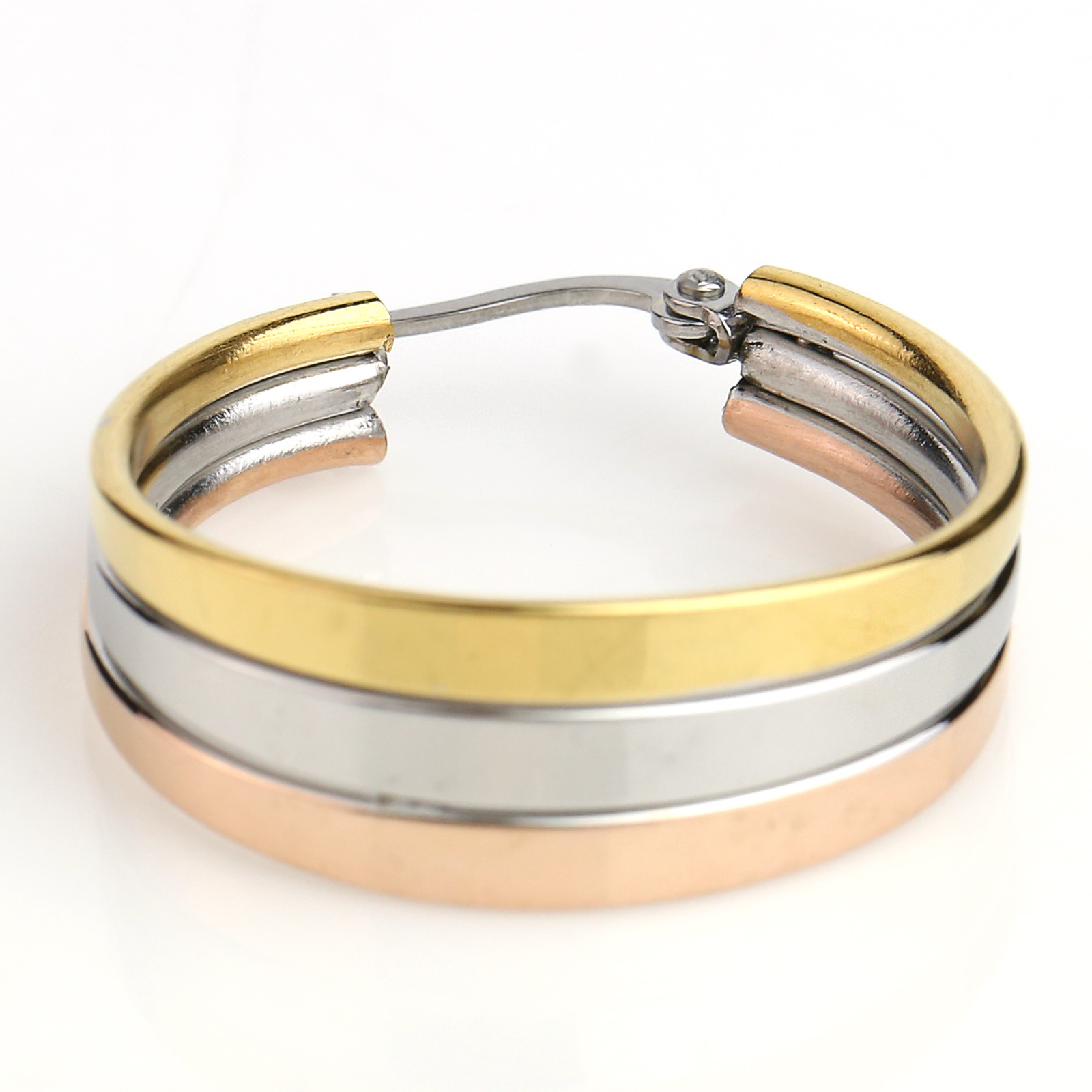 Sleek Polished Tri-Color Silver, Gold & Rose Tone Hoop Earrings- United Elegance