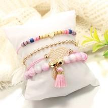 docona Bohemian Pink Beads Pine Tree Bracelet Bangles Set for Women Hear... - $8.87
