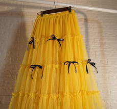 Layered Tulle Skirt Outfit w. Bow Festival Long Tulle Skirt Yellow Blue Wine-red image 7