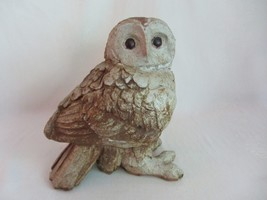 Large Heavy Vintage Cement Concrete Owl Figurine Garden Sculpture Rustic... - $39.59