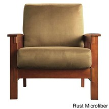 Accent Chair With Arms Mission Style Southwestern Wood Upholstered Cushi... - $619.66